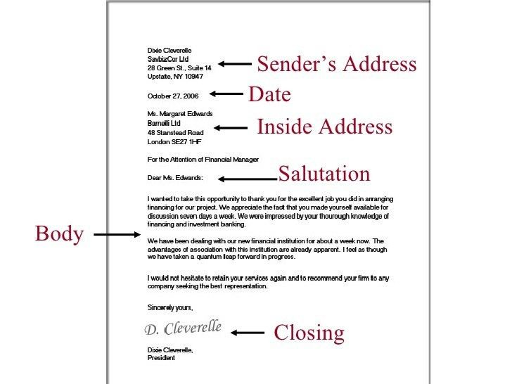 Example Of Inside Address In Business Letters | The Letter Sample
