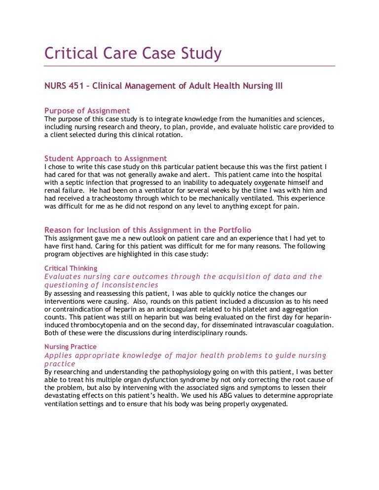 4 Critical Care Case Study
