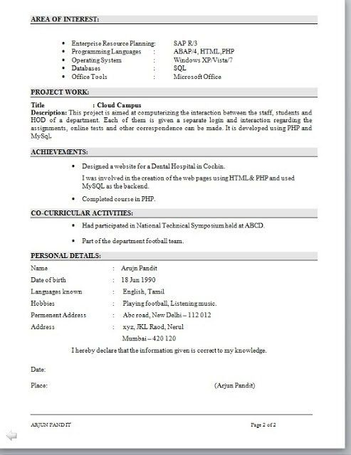 Amazing Sap Mm Fresher Resume Format 31 About Remodel Good ...