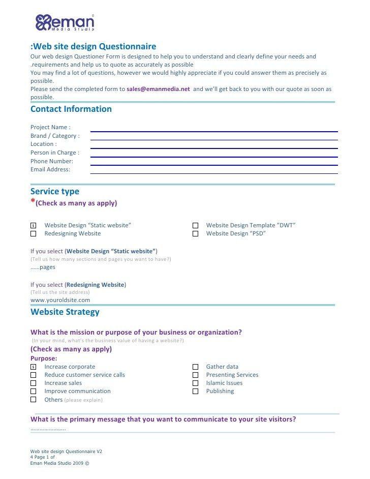 Web site design Questionnaire: