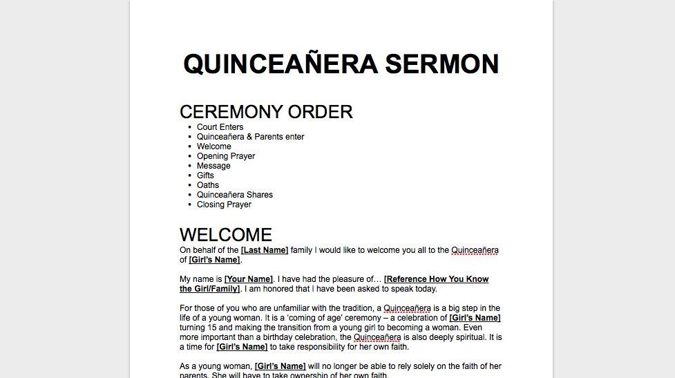 Free Quinceañera Sermon