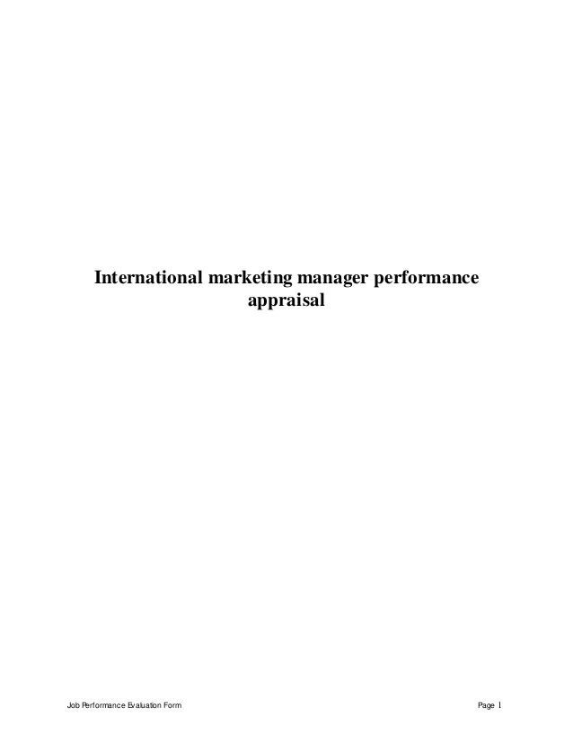 International marketing manager perfomance appraisal 2