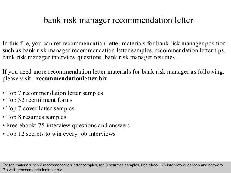 Bank risk manager recommendation letter