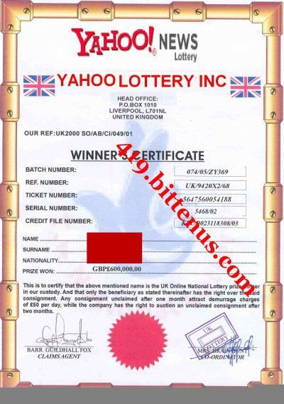 Yahoo Lottery Winning Certificates (419 fraud)