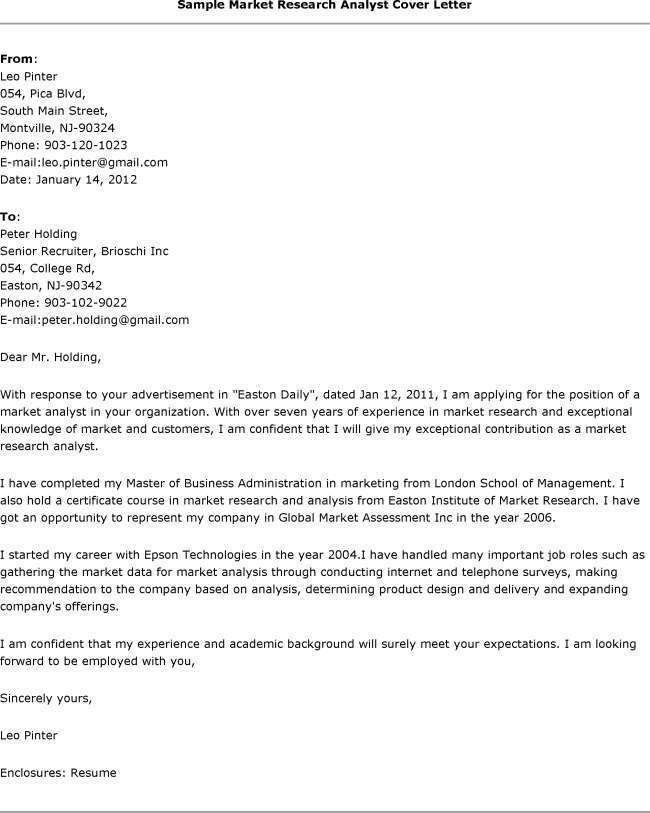 Smart Idea Research Cover Letter 8 Market Analyst Example - CV ...