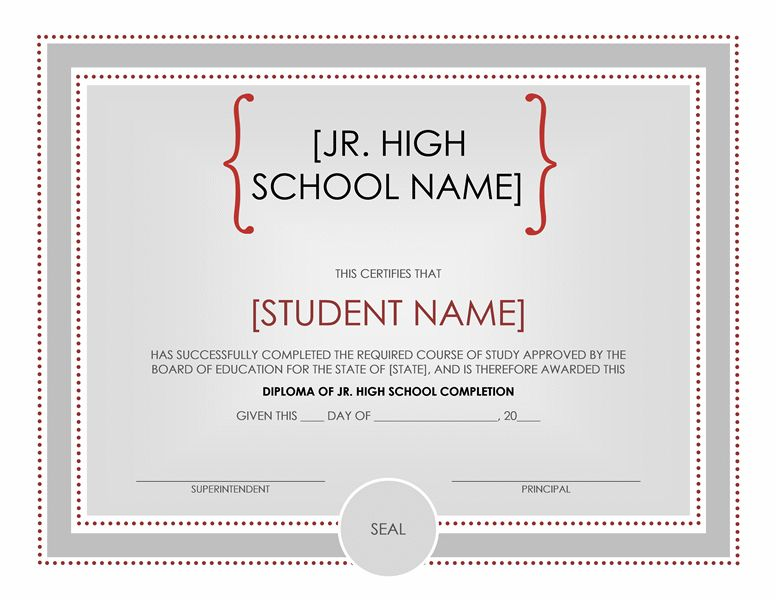 Jr. high school diploma certificate - Office Templates