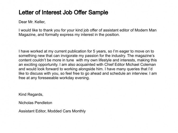 sample cover letter for job interest how to write a cover letter
