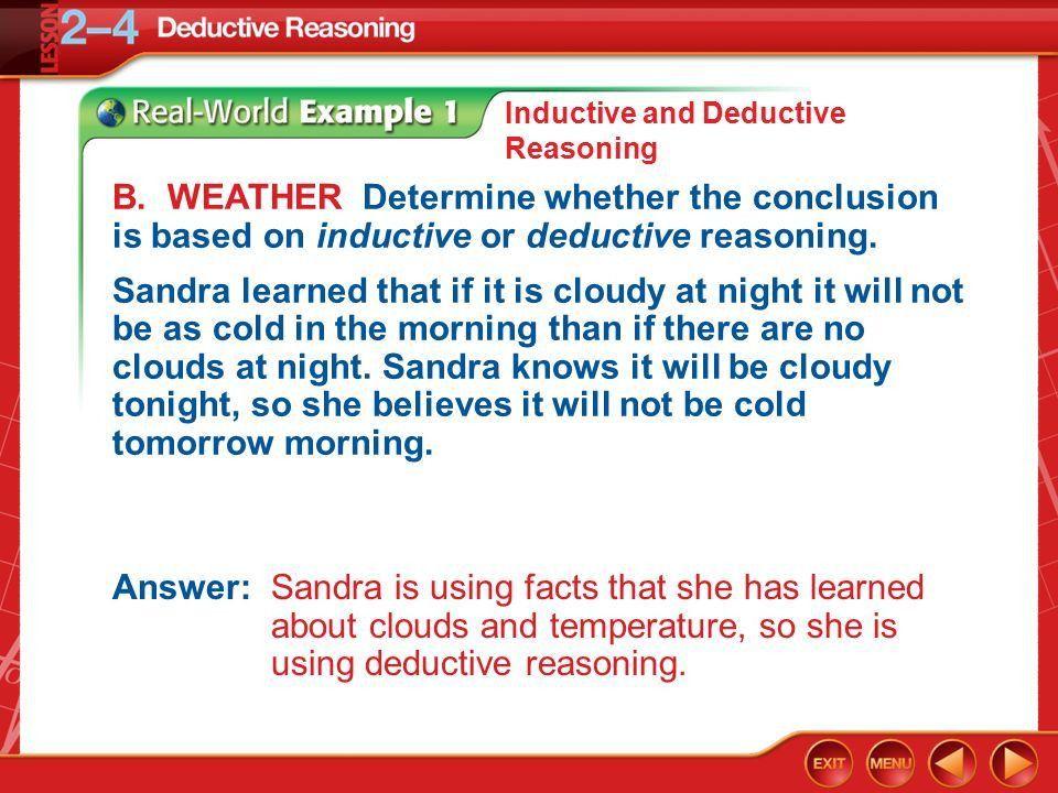 Deductive Reasoning LESSON 2–4. Lesson Menu Five-Minute Check ...