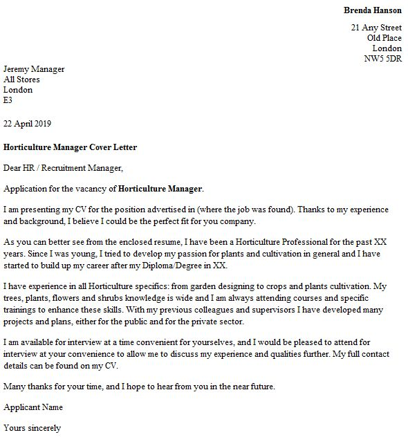 Horticulture Manager Cover Letter Example - icover.org.uk