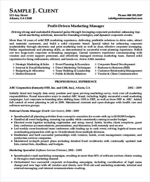 Marketing Resume Format Template - 7+ Free Word, PDF Format ...