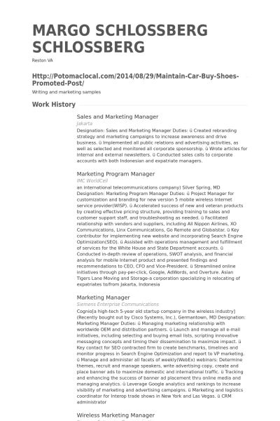 Sales And Marketing Manager Resume samples - VisualCV resume ...