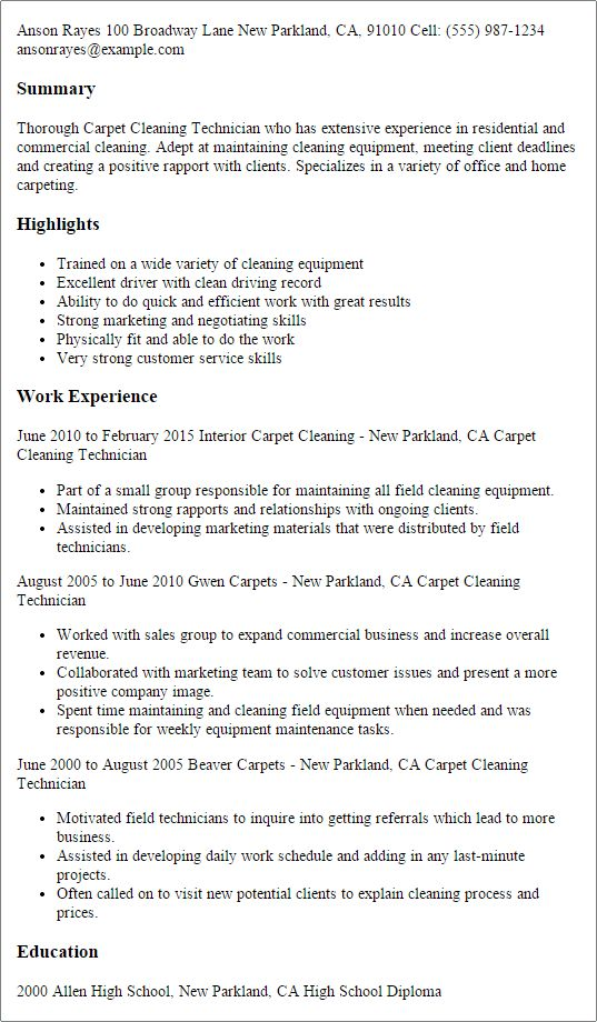 professional carpet cleaning technician templates to showcase your - House Cleaning Resume Sample