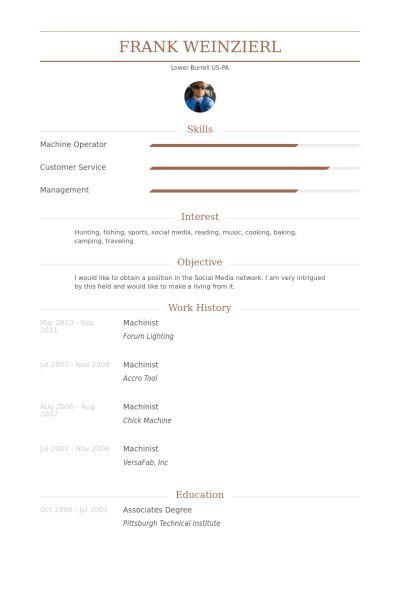 Machinist Resume samples - VisualCV resume samples database