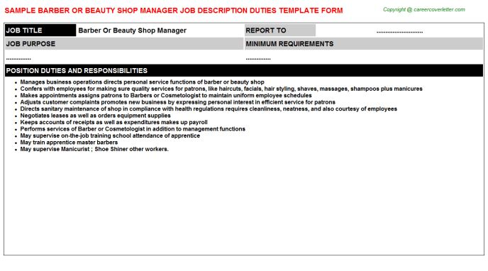 Barber Or Beauty Shop Manager Job Description