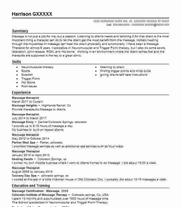 Best Massage Therapist Resume Example | LiveCareer