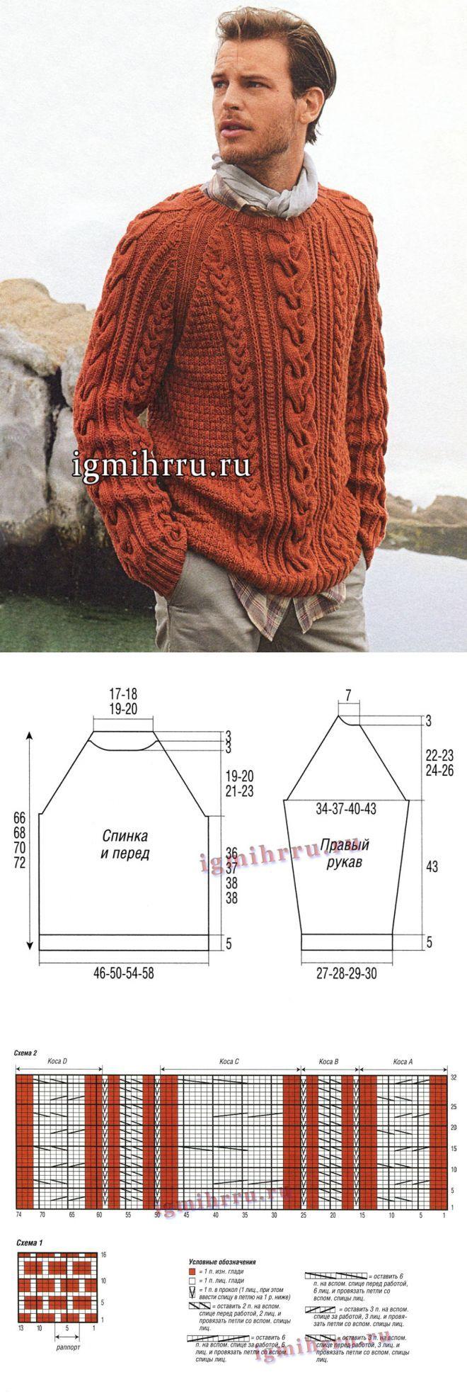 Мужские пуловеры и свитера спицами схемы 34