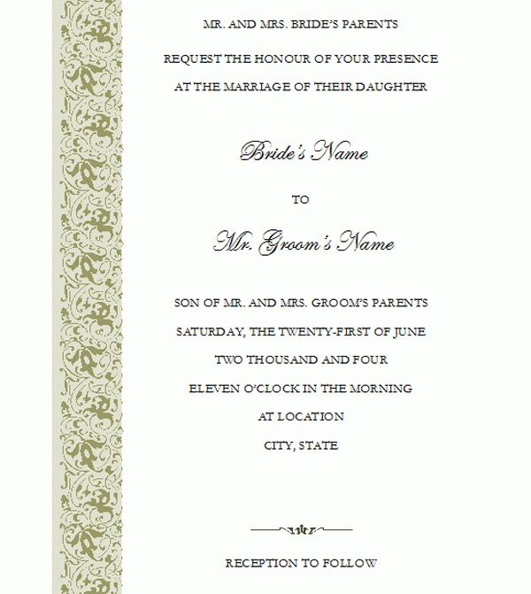Wedding invitation Template with Tapestry Design