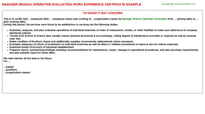 Manager Branch Operation Evaluation Work Experience Certificate