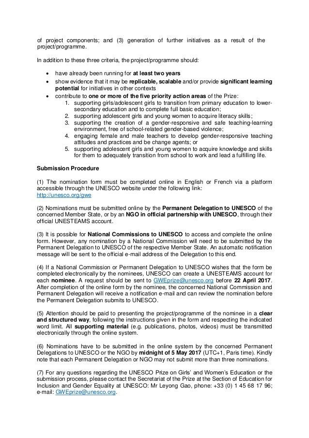 Explanatory note 2017 - UNESCO Prize on Girls' and Women's Education