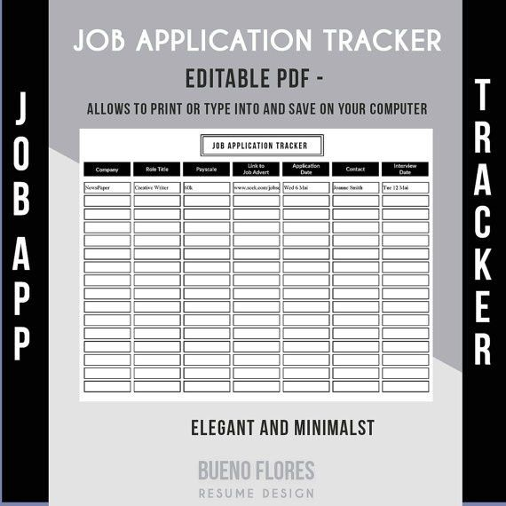 Job Application Tracker Job Application Log / Editable &