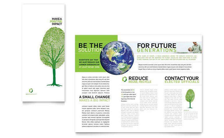 Environmental Non Profit Tri Fold Brochure Template - Word & Publisher