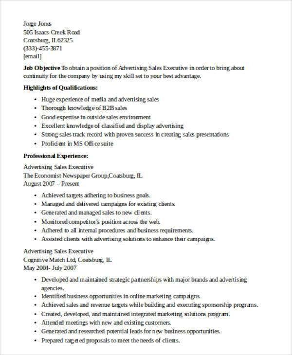 advertising executive resume