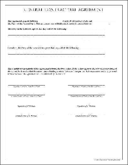 Free General Contractual Agreement from Formville
