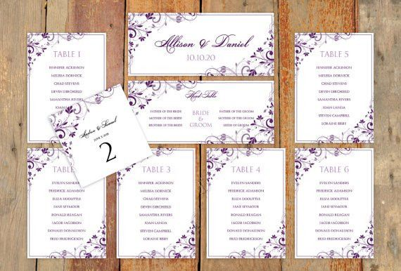 Wedding Seating Chart Template - Download Instantly - EDIT YOUR ...
