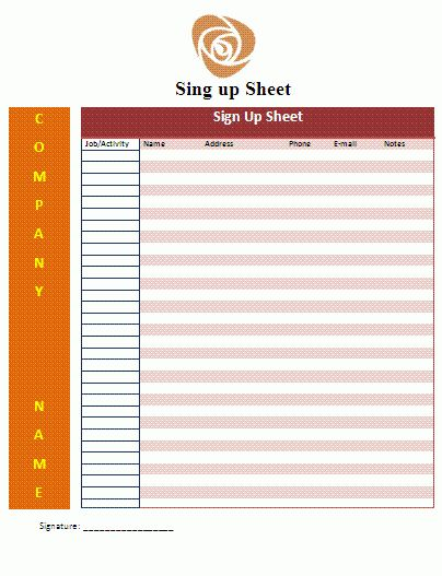 Signup Sheet Template | Free Business Templates