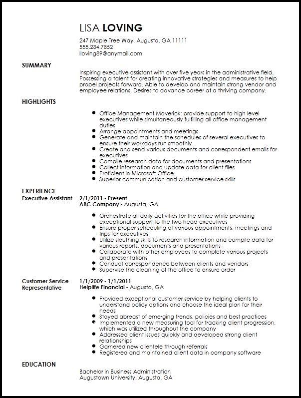 Free Creative Executive Assistant Resume Template | ResumeNow
