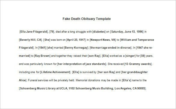 Death Obituary Template – 13+ Free Word, Excel, PDF, PSD Format ...