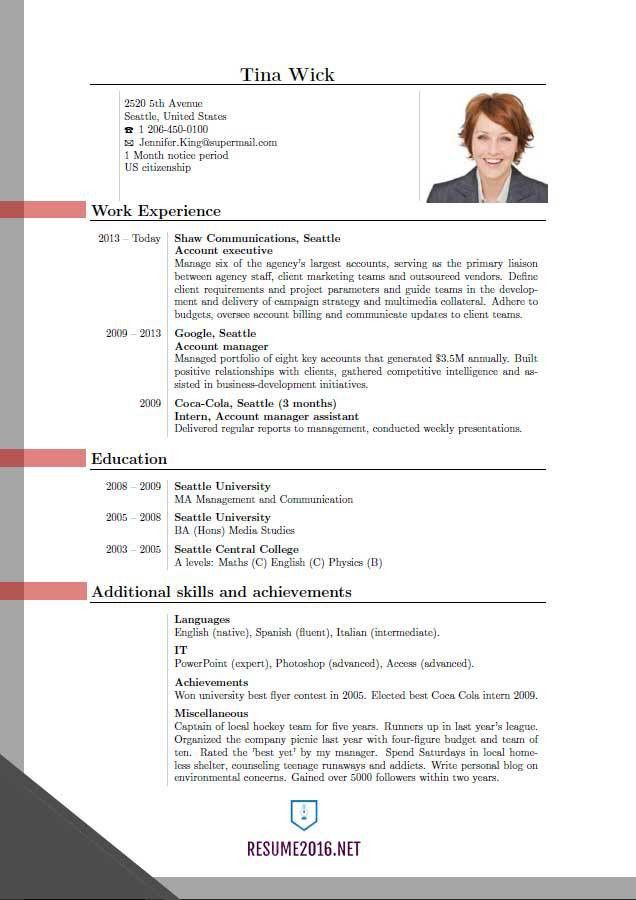 Updated resume format 2016. Updated structure