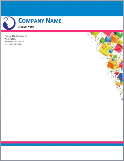 Blue Waves Letterhead Template | Printable Templates