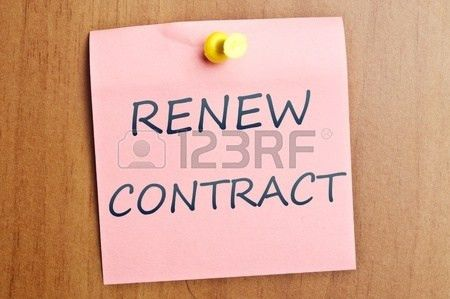 Renew Contract Word Post It On Wooden Wall Stock Photo, Picture ...