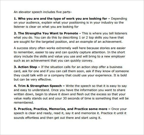 example of elevator speech