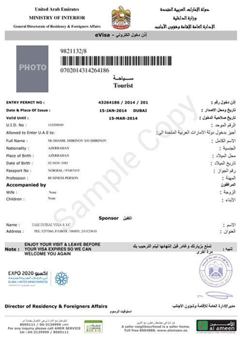 See a #Dubai Tourist #Visa #Sample with All Information about the ...