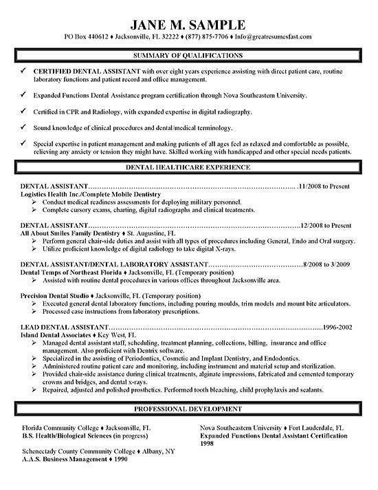 Dental Assistant Resume Sample | berathen.Com