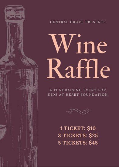Handdrawn Wine Bottle Fundraiser Raffle Flyer - Templates by Canva