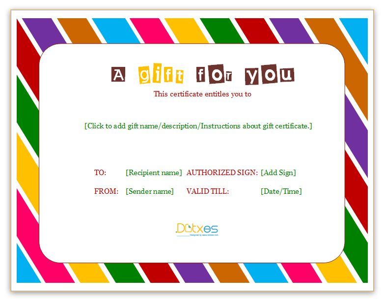 Free Printable Gift Certificate Templates - Certificate Templates