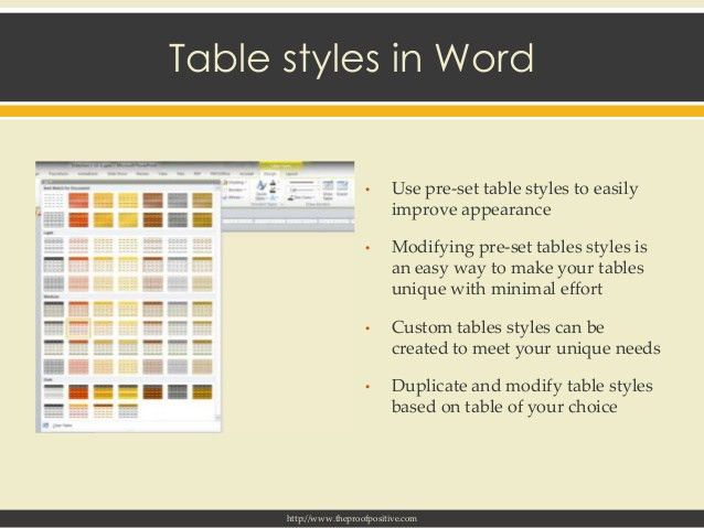 Table creation, conversion, modification, formatting and template dev…