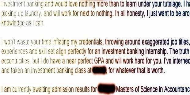 Student Sends Great Cover Letter For Internship At Bank, And It's ...