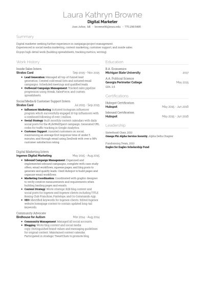 Inside Sales Resume samples - VisualCV resume samples database