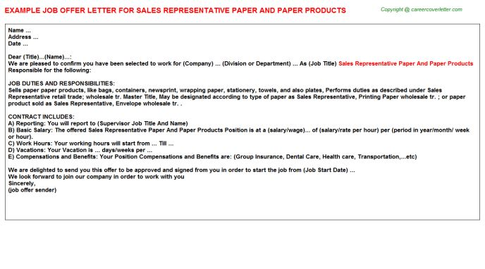 Sales Representative Paper And Paper Products Offer Letter