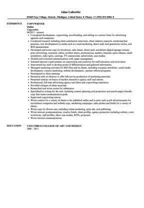 Copywriter Resume Sample | Velvet Jobs