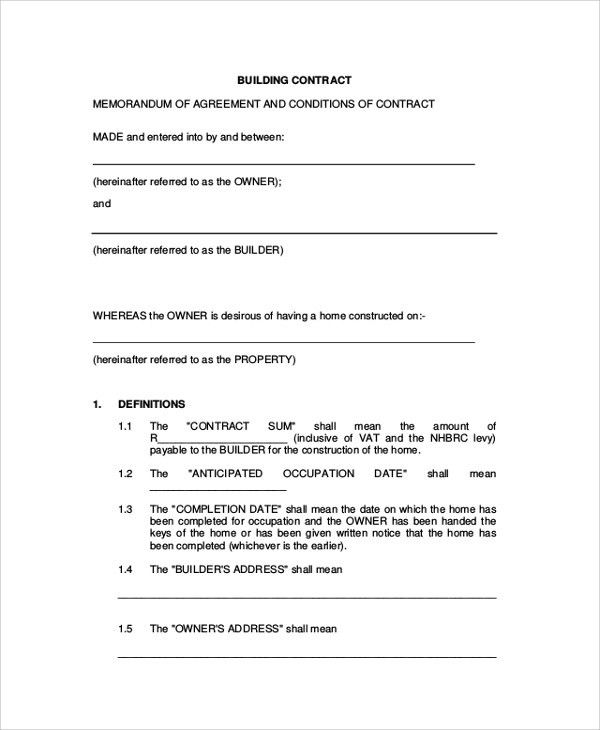 Sample Construction Agreement Form - 6+ Documents in PDF, Word