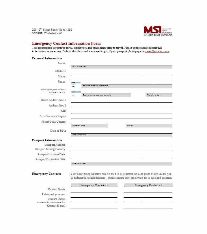 Employee Emergency Contact Form Template  BesikEightyCo