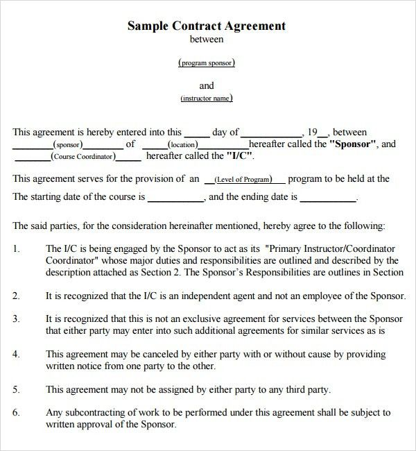 Simple Construction Agreement Format Between Two Parties for ...