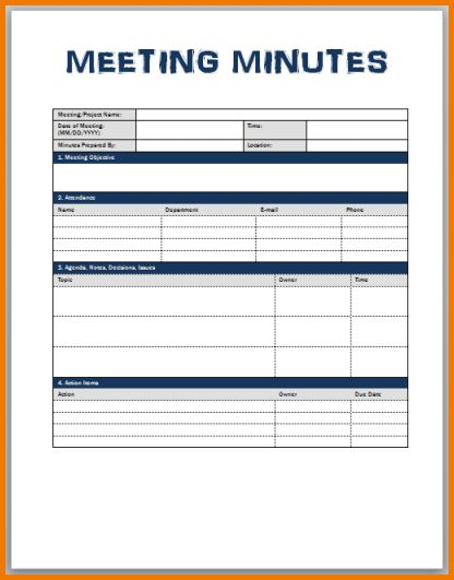 18+ Business Meeting Minutes Template Word | 7 Exercise Schedule ...