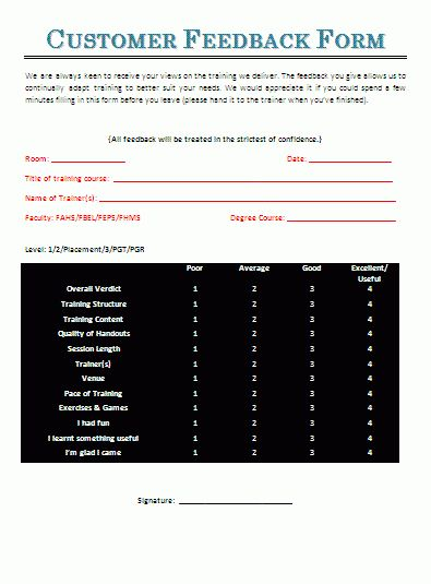 Customer Feedback Form | A to Z Free Printable Sample Forms