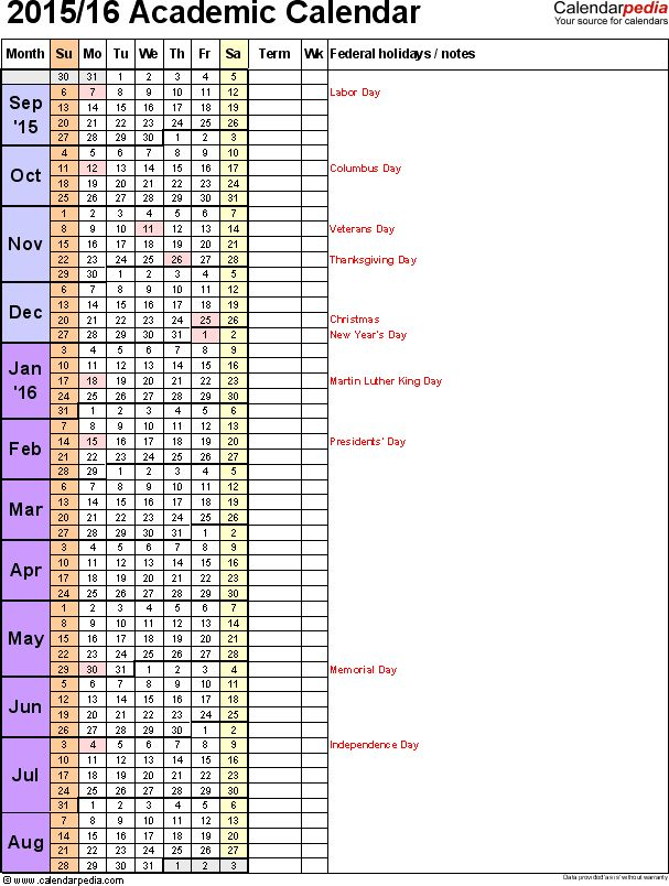 Academic calendars 2015/2016 as free printable Word templates